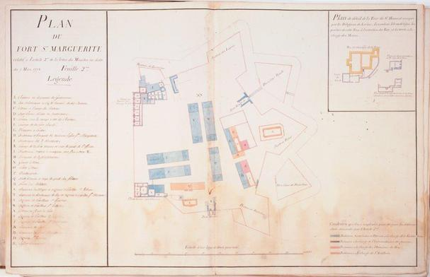 Plan du Fort royal Sainte-Marguerite, XVIIIe siècle (AdAM 01FI 1691)